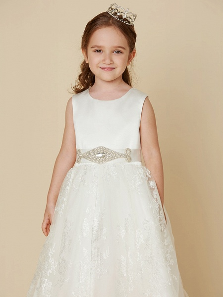 Princess Knee Length Wedding / First Communion Flower Girl Dresses - Lace / Satin Sleeveless Scoop Neck With Sash / Ribbon / Bow(S)_4