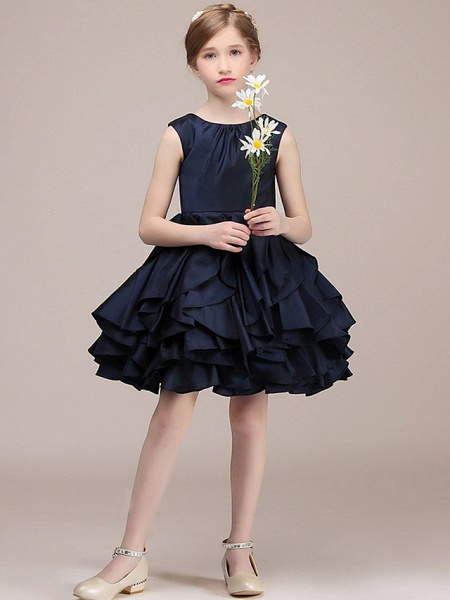 A-Line Round Short / Mini Satin Junior Bridesmaid Dress With Tier / Cascading Ruffles_4