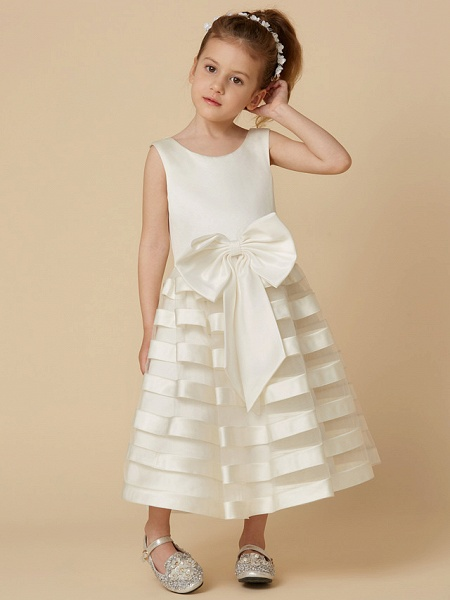 A-Line Tea Length Wedding / First Communion Flower Girl Dresses - Satin / Tulle Sleeveless Jewel Neck With Bow(S)_4