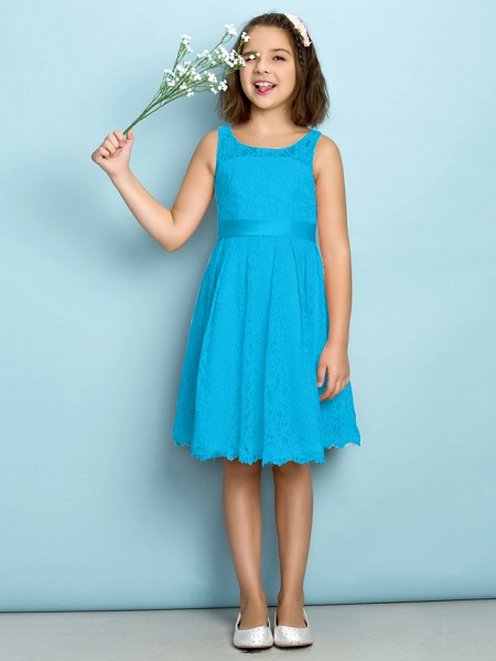 A-Line Scoop Neck Knee Length All Over Floral Lace Junior Bridesmaid Dress With Lace / Natural / Mini Me_31