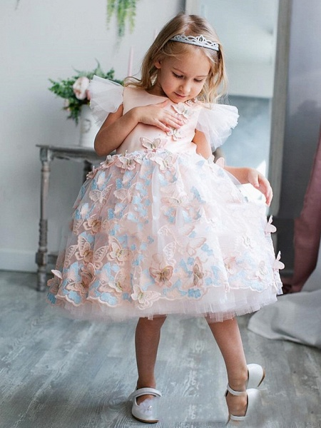 Princess / A-Line Tea Length Party / Birthday Flower Girl Dresses - Satin Short Sleeve Jewel Neck With Bow(S) / Appliques / Splicing_1