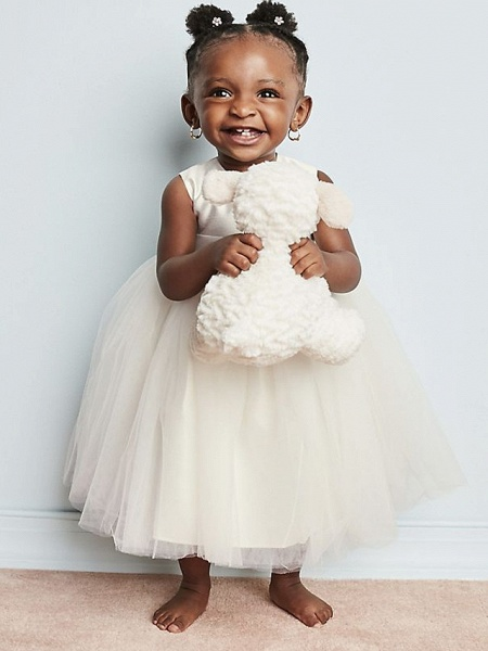 A-Line Ankle Length Wedding Flower Girl Dresses - Tulle Sleeveless Jewel Neck With Beading / Solid_3