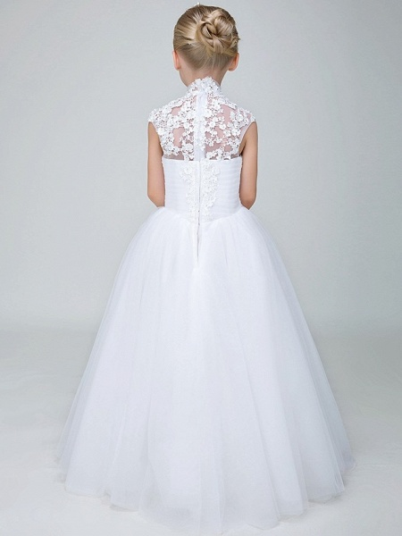 Ball Gown Ankle Length Wedding / First Communion Flower Girl Dresses - Tulle Sleeveless High Neck With Beading / Appliques_6