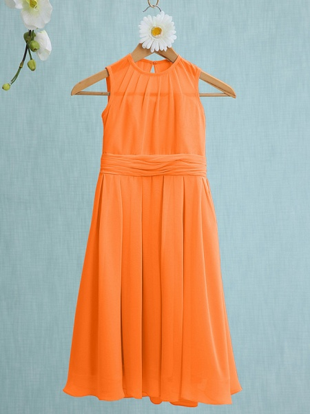 Sheath / Column Jewel Neck Knee Length Chiffon Junior Bridesmaid Dress With Ruched / Natural_14