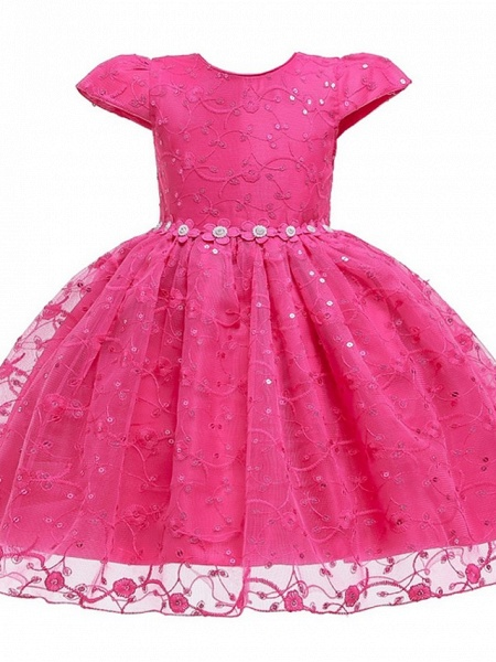 Princess / Ball Gown Knee Length Wedding / Party Flower Girl Dresses - Tulle Cap Sleeve Jewel Neck With Sash / Ribbon / Bow(S) / Embroidery_7