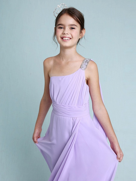 Sheath / Column One Shoulder Floor Length Chiffon Junior Bridesmaid Dress With Ruched / Beading / Side Draping / Natural_6