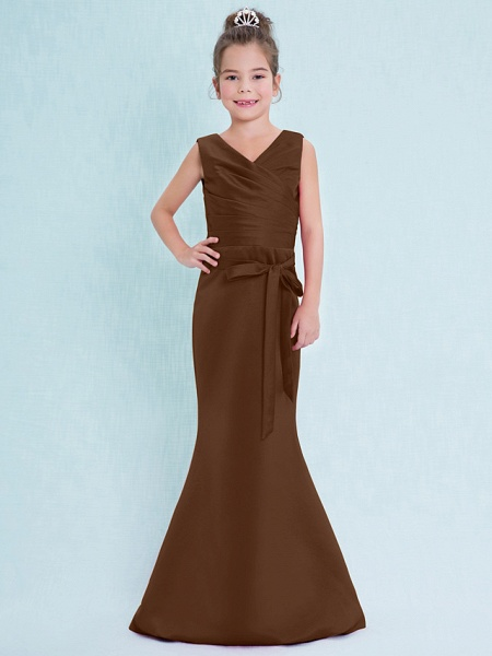 Mermaid / Trumpet V Neck Floor Length Satin Junior Bridesmaid Dress With Criss Cross / Natural_24