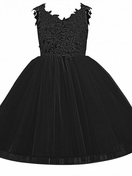 Princess Short Length Wedding / First Communion / Birthday Flower Girl Dresses - Taffeta / Tulle Sleeveless V Neck With Bow(S) / Appliques_10