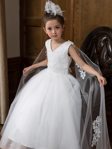 Ball Gown Floor Length Wedding Flower Girl Dresses - Chiffon Sleeveless V Neck With Bow(S) / Solid_3