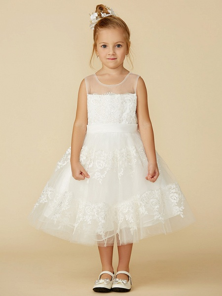 A-Line Tea Length Wedding / First Communion Flower Girl Dresses - Lace Sleeveless Jewel Neck With Lace / Sash / Ribbon