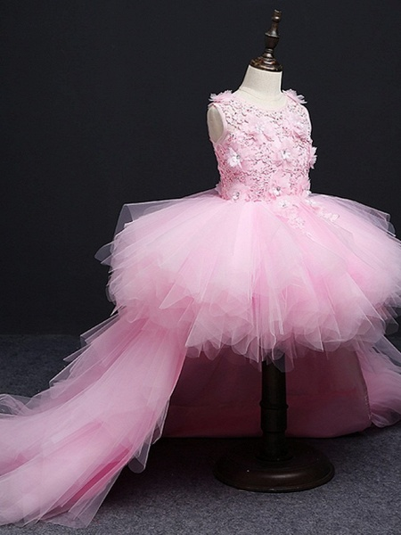 A-Line Asymmetrical Wedding / Pageant Flower Girl Dresses - Tulle Sleeveless Jewel Neck With Tier / Appliques_4
