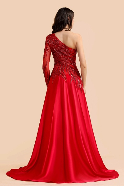One Shoulder Mermaid Sequins Fuchsia Evening Dresses with Sleeves_2