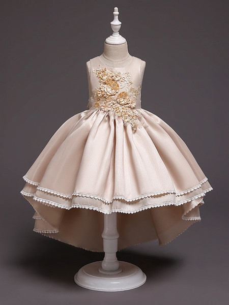 Princess Asymmetrical Wedding / Party / Pageant Flower Girl Dresses - Satin / Tulle Sleeveless Jewel Neck With Lace / Belt / Appliques_2