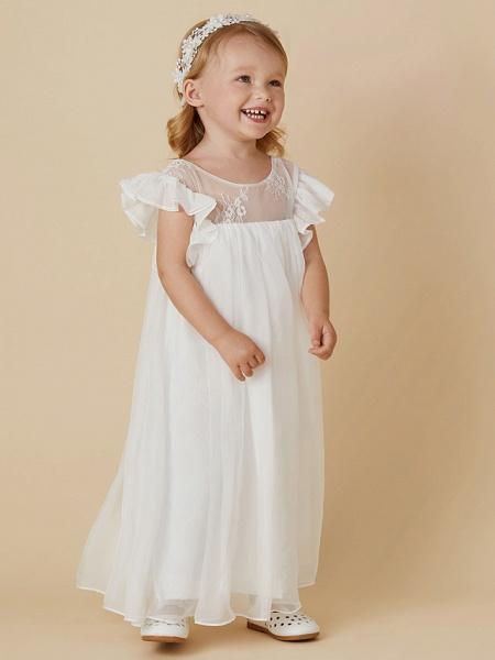 Sheath / Column Ankle Length Chiffon / Lace Short Sleeve Jewel Neck With Pleats_5