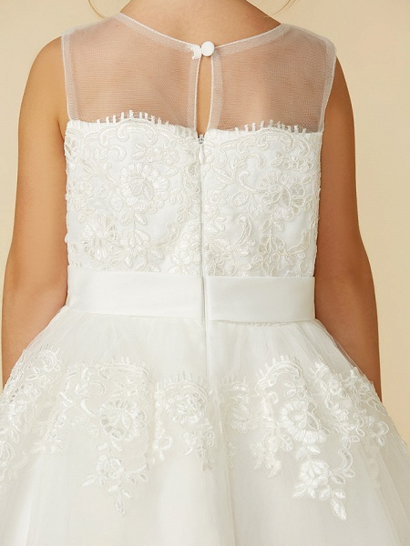 A-Line Tea Length Wedding / First Communion Flower Girl Dresses - Lace Sleeveless Jewel Neck With Lace / Sash / Ribbon_11