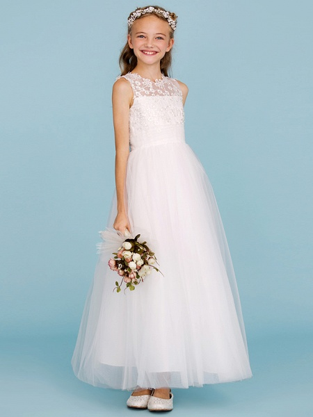 Princess / A-Line Crew Neck Ankle Length Lace / Tulle Junior Bridesmaid Dress With Sash / Ribbon / Wedding Party_5