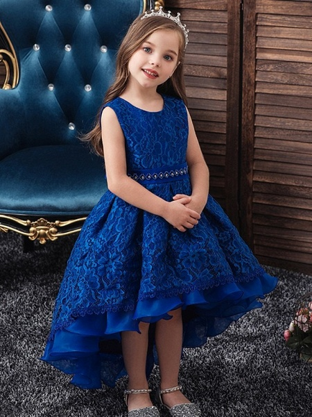 Princess / Ball Gown Floor Length Wedding / Party Flower Girl Dresses - Lace / Tulle Sleeveless Jewel Neck With Sash / Ribbon / Embroidery_3