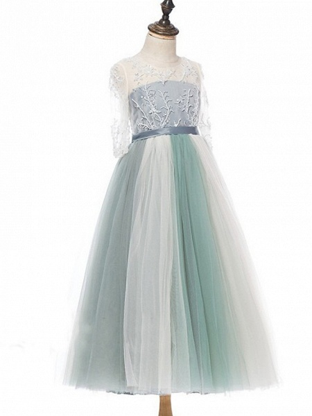 Princess / A-Line Floor Length Wedding / Party Flower Girl Dresses - Lace / Tulle Half Sleeve Jewel Neck With Bows / Paillette_6
