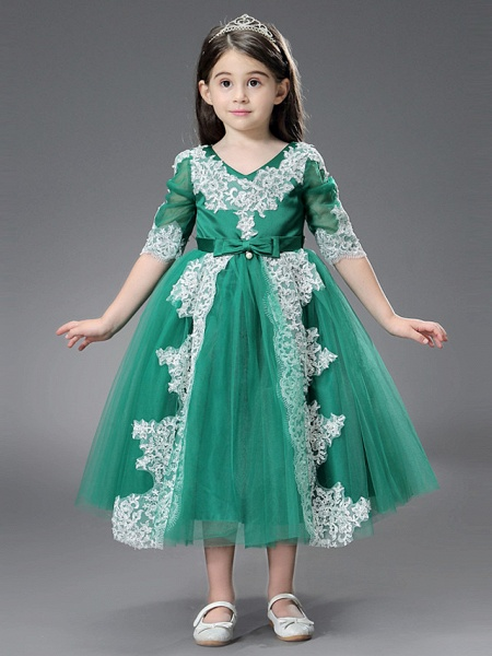 Princess / Ball Gown Ankle Length / Royal Length Train Wedding / Formal Evening Flower Girl Dresses - Tulle / Matte Satin Long Sleeve Jewel Neck With Beading / Appliques / Split Front_2