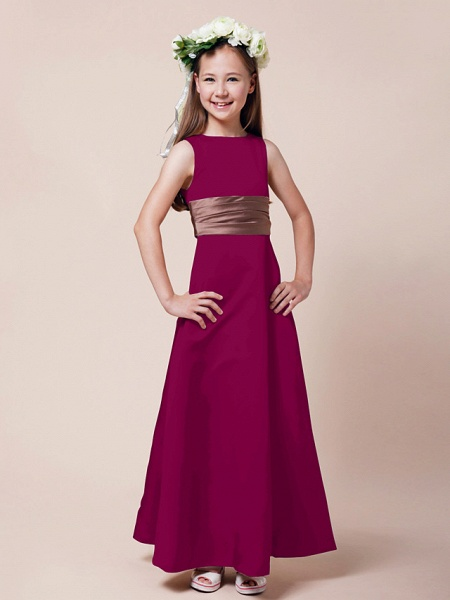 Princess / A-Line Bateau Neck Floor Length Satin Junior Bridesmaid Dress With Sash / Ribbon / Ruched / Spring / Summer / Fall / Winter / Apple_38
