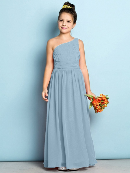 A-Line One Shoulder Ankle Length Chiffon Junior Bridesmaid Dress With Side Draping / Natural / Mini Me_30