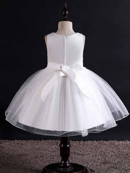 Princess / Ball Gown Knee Length Wedding / Party Flower Girl Dresses - Tulle Sleeveless Jewel Neck With Bow(S) / Beading / Appliques_7