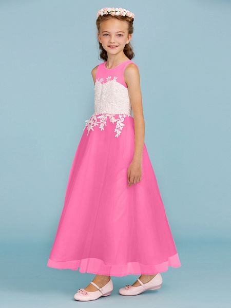 Princess / A-Line Jewel Neck Ankle Length Lace / Tulle Junior Bridesmaid Dress With Sash / Ribbon / Appliques / Wedding Party / Open Back_26