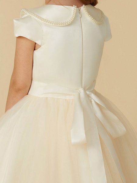 Ball Gown Tea Length Pageant Flower Girl Dresses - Satin / Tulle Short Sleeve Jewel Neck With Pearls / Beading_6