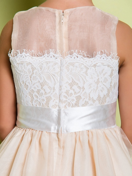 A-Line Floor Length Lace / Organza Sleeveless Jewel Neck With Lace_9