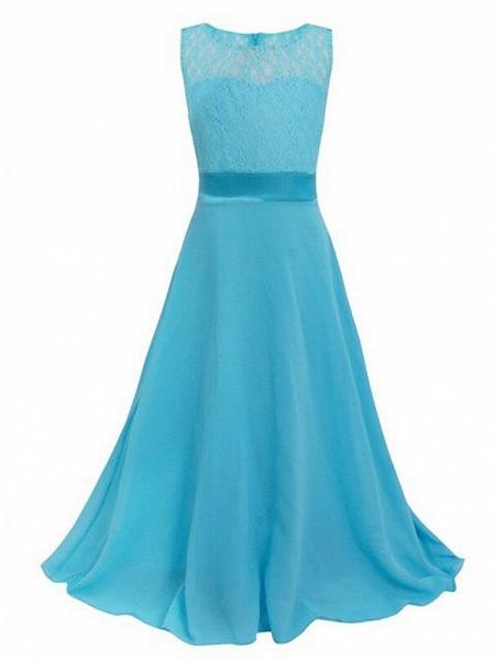 A-Line Floor Length Wedding / Party Flower Girl Dresses - Chiffon / Lace Sleeveless Jewel Neck With Sash / Ribbon_17