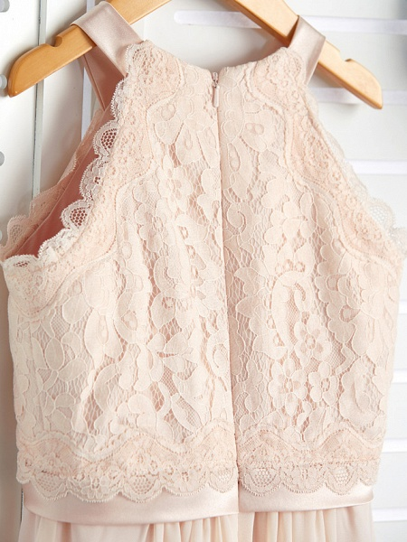 A-Line Crew Neck Floor Length Chiffon / Lace Junior Bridesmaid Dress With Lace / Sash / Ribbon_6