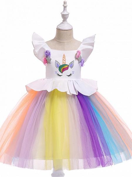 Princess Midi Party / Birthday / Pageant Flower Girl Dresses - Tulle Sleeveless Jewel Neck With Petal / Ruffles / Pattern / Print_1