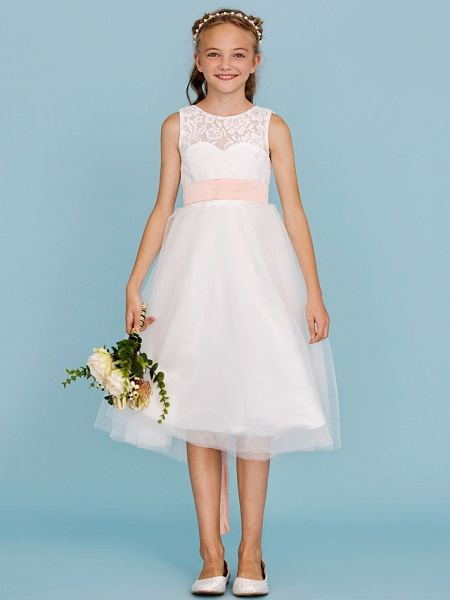 Princess / A-Line Crew Neck Tea Length Lace / Tulle Junior Bridesmaid Dress With Sash / Ribbon / Pleats / Wedding Party / Open Back / See Through_4