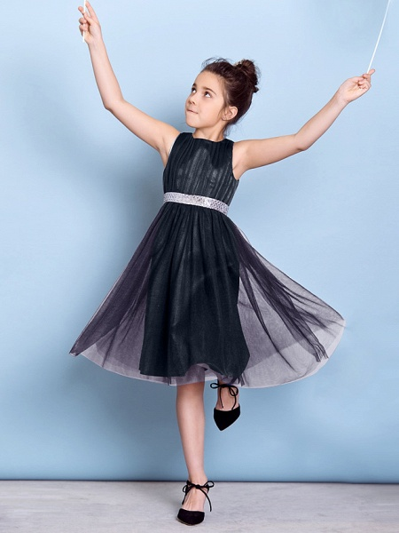 A-Line Jewel Neck Knee Length Tulle Junior Bridesmaid Dress With Sash / Ribbon / Sequin / Draping / Natural_36