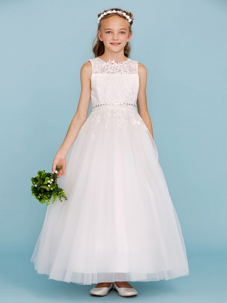 Ball Gown Crew Neck Ankle Length Lace / Tulle Junior Bridesmaid Dress With Sash / Ribbon / Beading / Appliques / Wedding Party_1