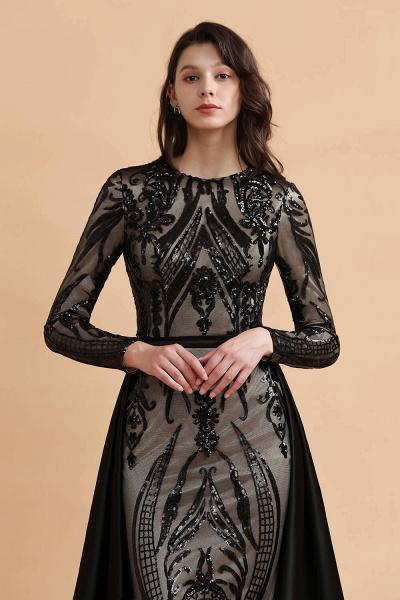 Luxury Black Round neck Sequined Detachable Overskirt Prom Dress_7