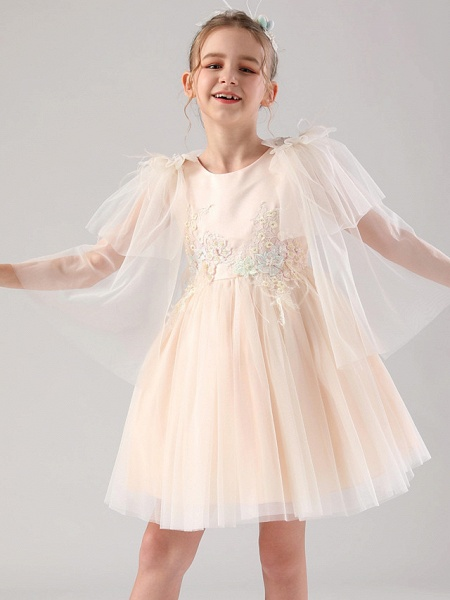 Princess / Ball Gown Royal Length Train / Medium Length Event / Party / Birthday Flower Girl Dresses - Satin / Tulle 3/4 Length Sleeve Jewel Neck With Feathers / Fur / Appliques / Butterfly_1