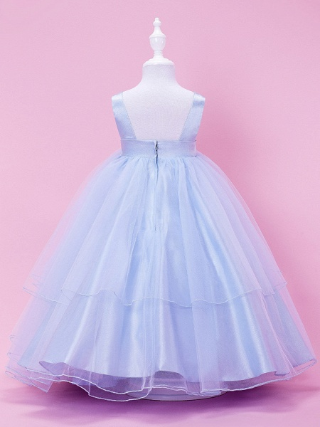 Princess / Ball Gown / A-Line Tea Length Wedding Party Tulle / Stretch Satin Sleeveless Straps With Bow(S) / Draping / Spring / Summer / Fall / Winter_3
