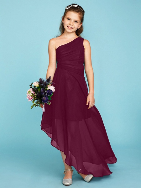 A-Line One Shoulder Asymmetrical Chiffon Junior Bridesmaid Dress With Side Draping / Wedding Party_9