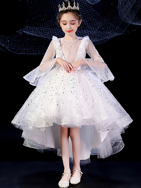 Princess Floor Length Formal Evening / Birthday Flower Girl Dresses - Tulle Long Sleeve Illusion Neck With Pattern / Print / Paillette_4