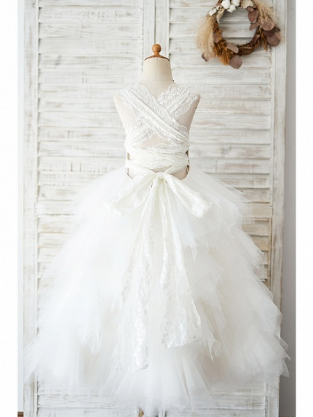 Ball Gown Floor Length Wedding / Birthday Flower Girl Dresses - Lace / Tulle Sleeveless Jewel Neck With Tiered_2