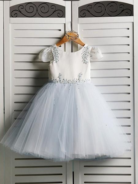 Princess Tea Length Wedding / Birthday / Pageant Flower Girl Dresses - Satin / Tulle Cap Sleeve Jewel Neck With Beading_4