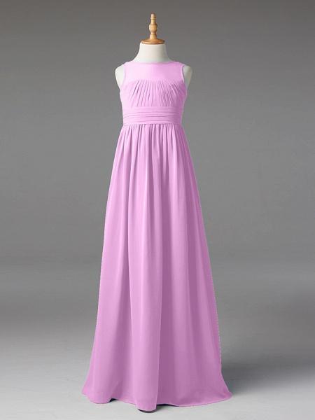 Princess / A-Line Jewel Neck Floor Length Chiffon Junior Bridesmaid Dress With Sash / Ribbon / Pleats_20