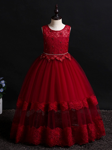Princess Floor Length Wedding / Birthday Lace / Tulle / Polyester Sleeveless Jewel Neck With Lace / Bow(S) / Pearls_9