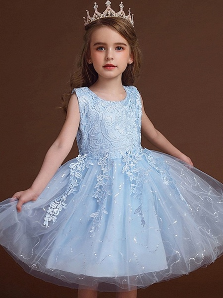 Princess / Ball Gown Knee Length Wedding / Party Flower Girl Dresses - Lace / Tulle Sleeveless Jewel Neck With Bow(S) / Appliques_1