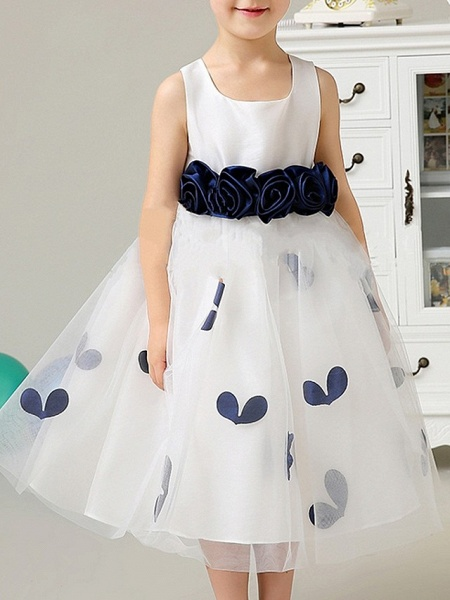 A-Line Knee Length Pageant Flower Girl Dresses - Polyester Sleeveless Scoop Neck With Bow(S) / Pattern / Print / Appliques_4