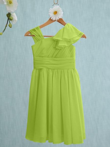 Sheath / Column Straps Knee Length Chiffon Junior Bridesmaid Dress With Ruffles / Side Draping / Natural_27