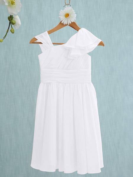 Sheath / Column Straps Knee Length Chiffon Junior Bridesmaid Dress With Ruffles / Side Draping / Natural_18
