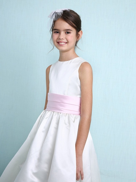 Princess / A-Line Jewel Neck Knee Length Satin Junior Bridesmaid Dress With Sash / Ribbon / Ruched / Ruffles / Spring / Summer / Fall / Winter / Wedding Party_8
