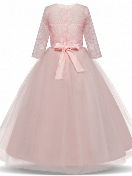 Princess Long Length Wedding / Party / Pageant Flower Girl Dresses - Lace / Tulle Half Sleeve Jewel Neck With Lace / Belt / Bow(S)_6
